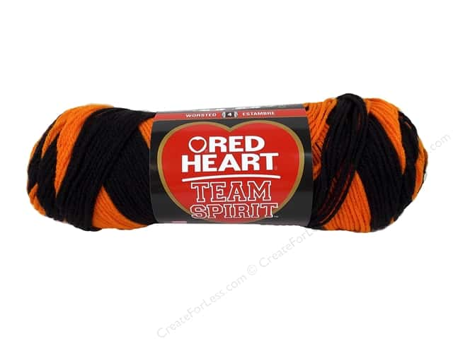 Red Heart Team Spirit Yarn #0972 Orange/Black 244 yd.
