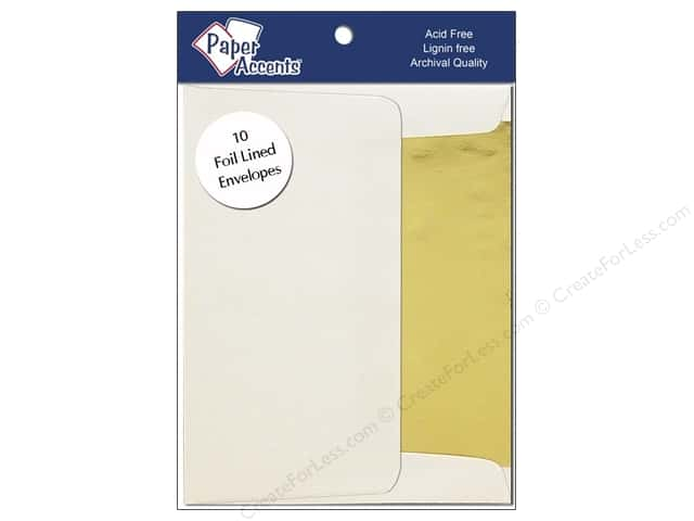 4 1/4 x 5 1/2 in. Envelopes by Paper Accents 10 pc. Gold Lined Cream