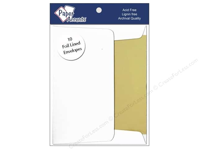 5 x 7 in. Envelopes by Paper Accents 10 pc. Gold Lined White