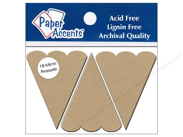 Paper Accents Chipboard Pennants 1 1/4 x 2 in. Micro Scallop Top 18 pc. Natural