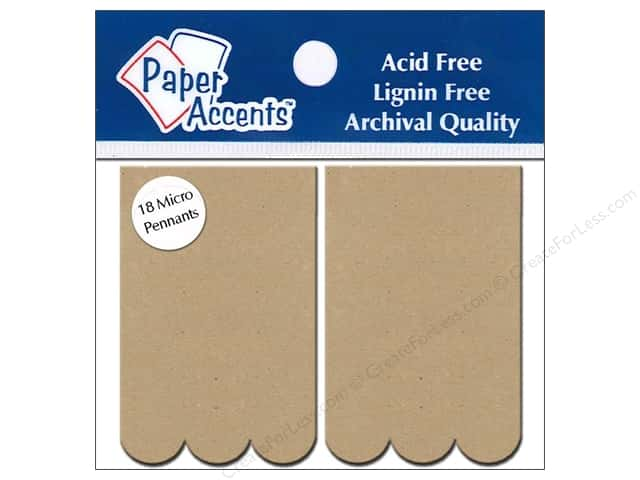 Paper Accents Chipboard Pennants 1 1/4 x 2 in. Micro Scallop Rectangle 18 pc. Kraft