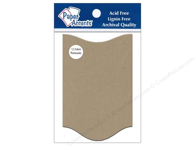Paper Accents Chipboard Pennants 2 1/2 x 4 in. Mini Concertina 12 pc. Kraft
