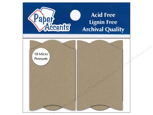 Paper Accents Chipboard Pennants 1 1/4 x 2 in. Micro Concertina 18 pc. Kraft