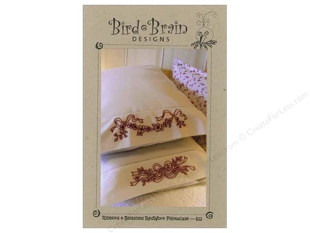 Bird Brain Designs Ribbon & Blossom RedWork Pillowcase Pattern
