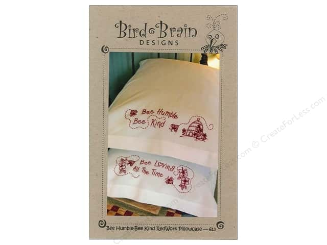 Bird Brain Designs Bee Humble Bee Kind RedWork Pillowcase Pattern