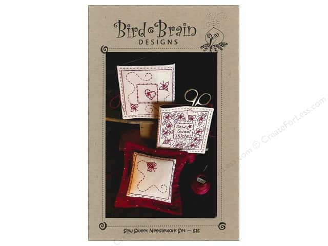 Bird Brain Designs Sew Sweet RedWork Needlework Embroidery Set Pattern