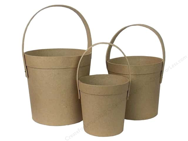 Paper Mache Round Pail Set of 3 by Craft Pedlars (8 sets)