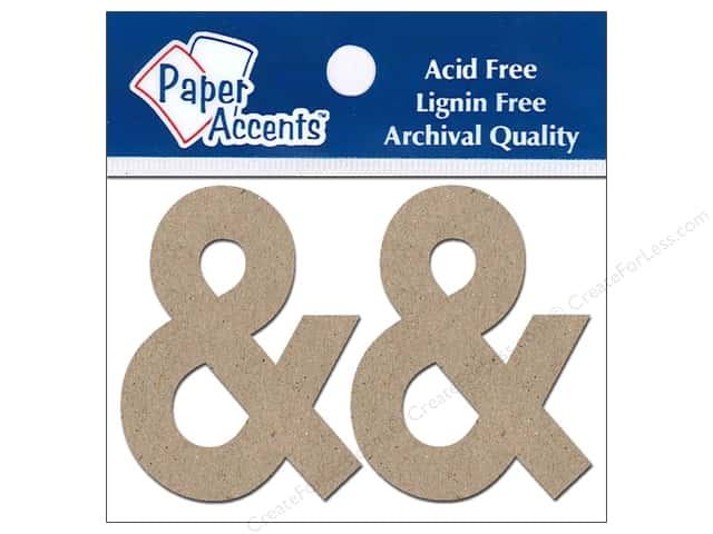 "Paper Accents Chipboard Shape Punctuation ""&"" 2 in. 2 pc. Natural"