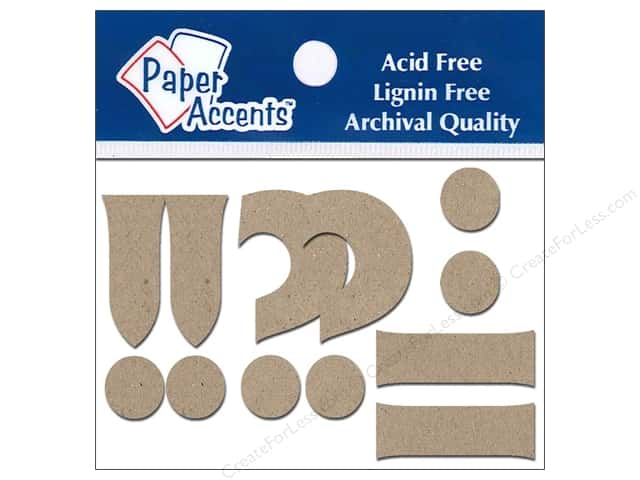 Paper Accents Chipboard Shape Punctuation  !-.? 2 in. 8 pc. Natural