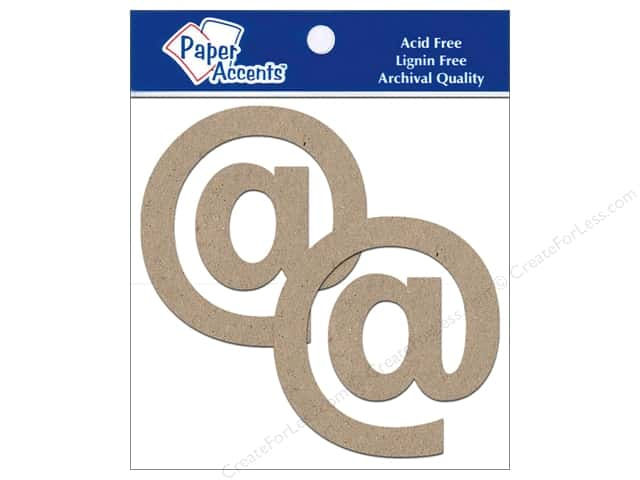 "Paper Accents Chipboard Shape Punctuation ""@"" 4 in. 2 pc. Kraft"