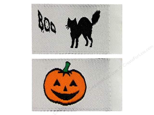 Tag It Ons Sew On Labels Black Cats Pumpkins Assorted 12pc