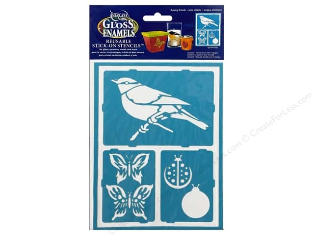 DecoArt Americana Gloss Enamels Stick-On Stencils 6 x 8 in. Fluttery Friends