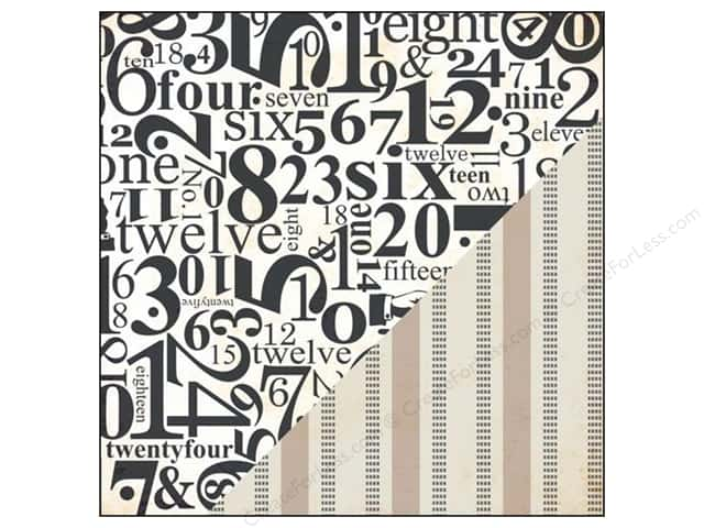 Bazzill 12 x 12 in. Paper Timeless Numbers/Burlap Stripe 25pc