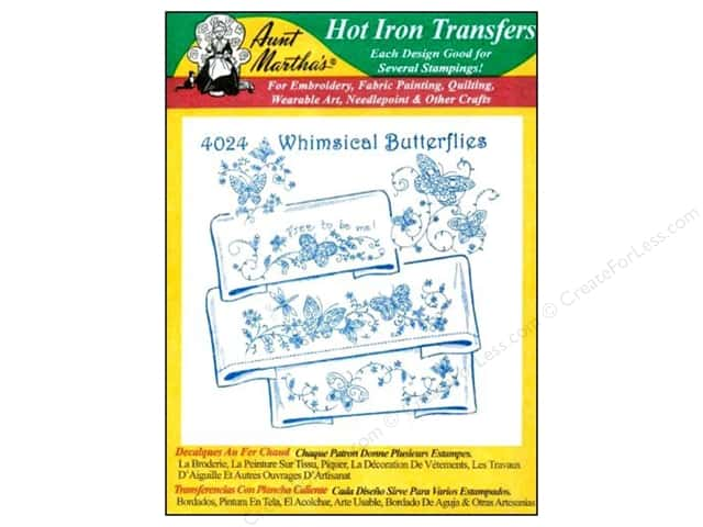 Aunt Martha's Hot Iron Transfer #4024 Whimsical Butterflies
