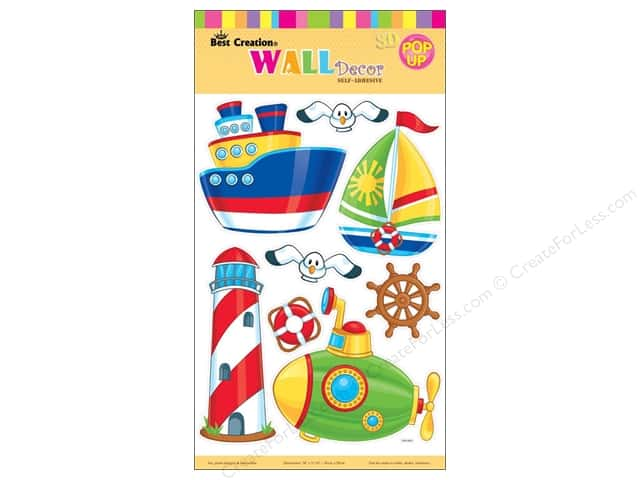Best Creation Wall Decor Stickers Pop-Up Lighthouse, Submarine, Boat