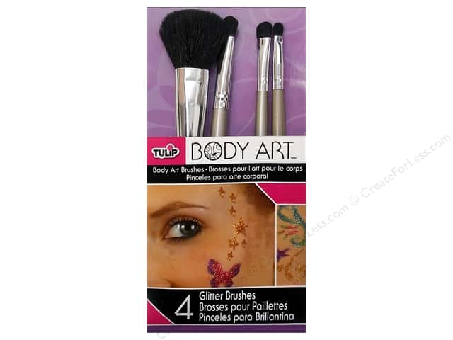 Tulip Body Art Brushes Glitter 4pc