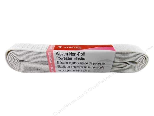 Singer Flat Non-Roll Elastic Hank White 3/4 in. x 3 yd.