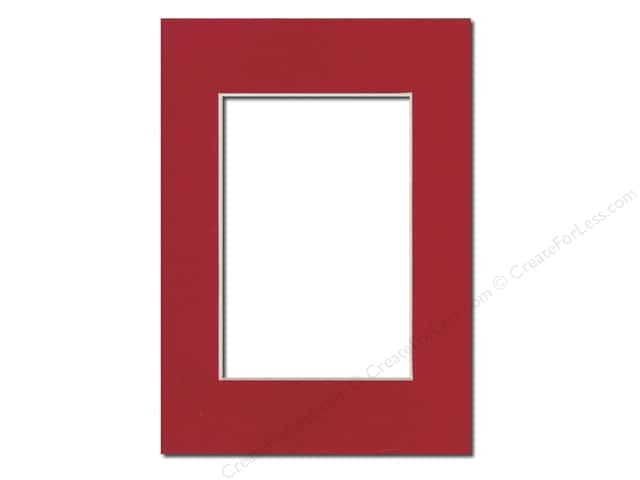 Pre-cut Photo Mat Board by Accent Design Cream Core 5 x 7 in. for 3 1/2 x 5 in. Photo Deep Red