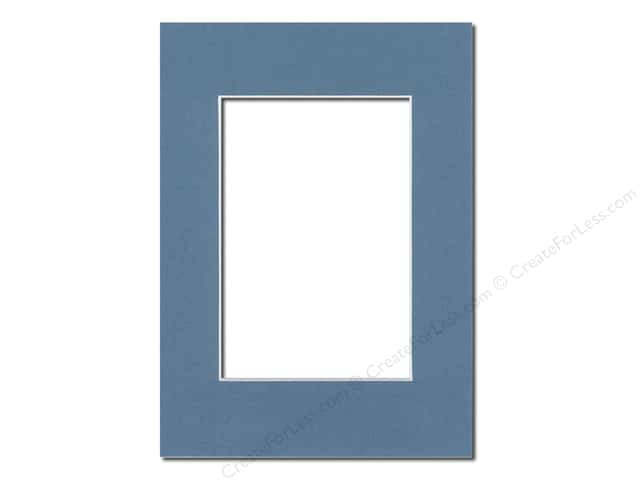 PA Framing Pre-cut Photo Mat Board White Core 5 x 7 in. for 3 1/2 x 5 in. Photo Bay Blue