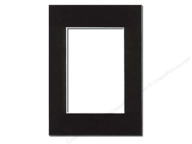 Pre-cut Photo Mat Board by Accent Design White Core 5 x 7 in. for 3 1/2 x 5 in. Photo Black