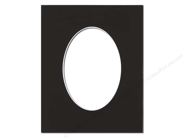 PA Framing re-cut Oval Photo Mat Board White Core 8 x 10 in. for 5 x 7 in. Photo Black