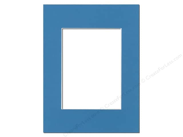 PA Framing Pre-cut Photo Mat Board White Core 9 x 12 in. for 6 x 8 in. Photo Bay Blue