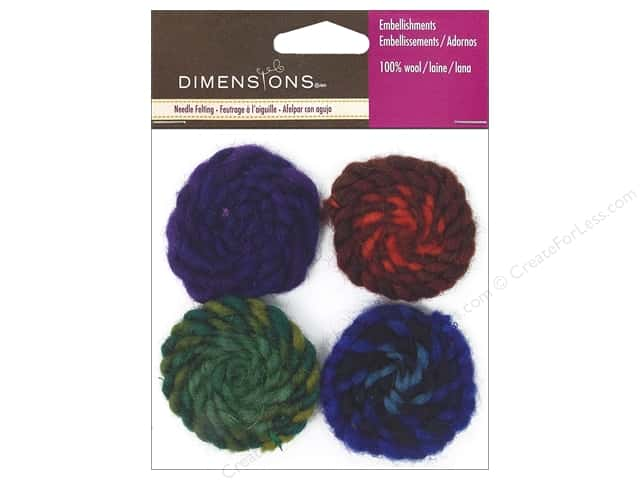 Dimensions 100% Wool Felt Embellishment Spirals Cool