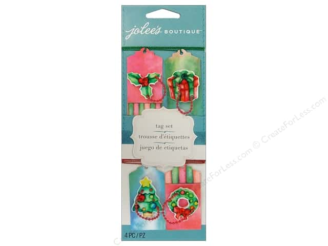 EK Jolee's Boutique Embellishment Tag Set Red & Green 4pc