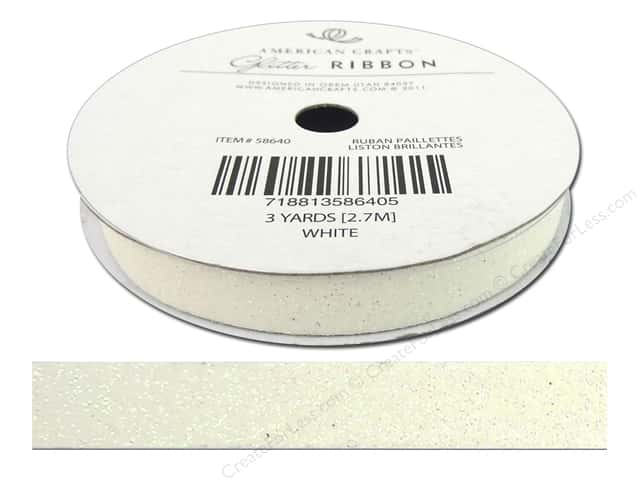 American Crafts Glitter Ribbon 3/8 in. x 3 yd. Solid White