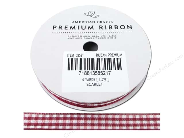 American Crafts Gingham Ribbon 3/8 in. x 4 yd. Scarlet & White