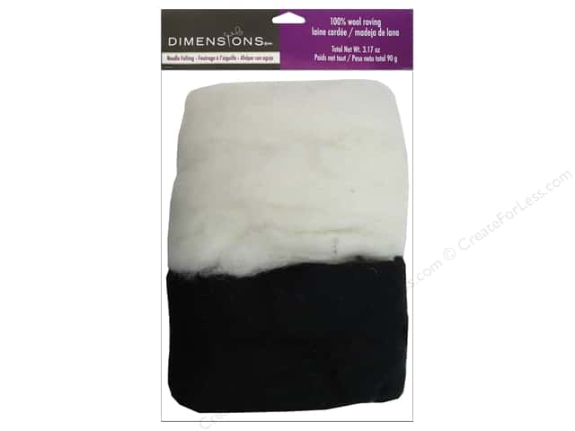 Dimensions Feltworks 100% Wool Roving White/Black 3.17 oz.
