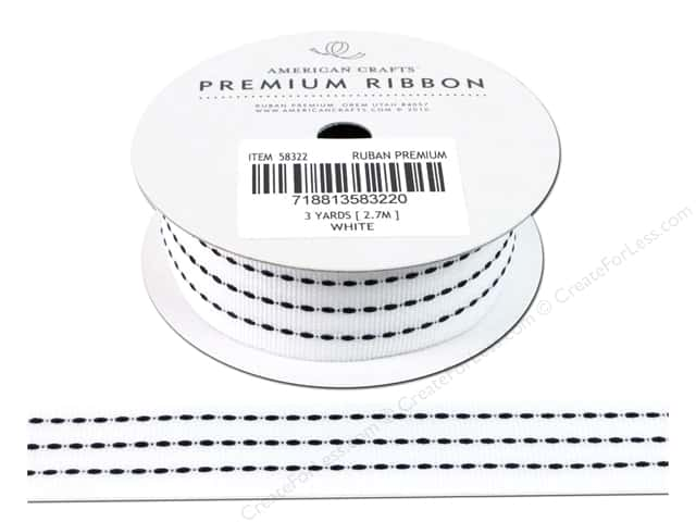 American Crafts Grosgrain Ribbon with Stitch 1 in. x 3 yd. White