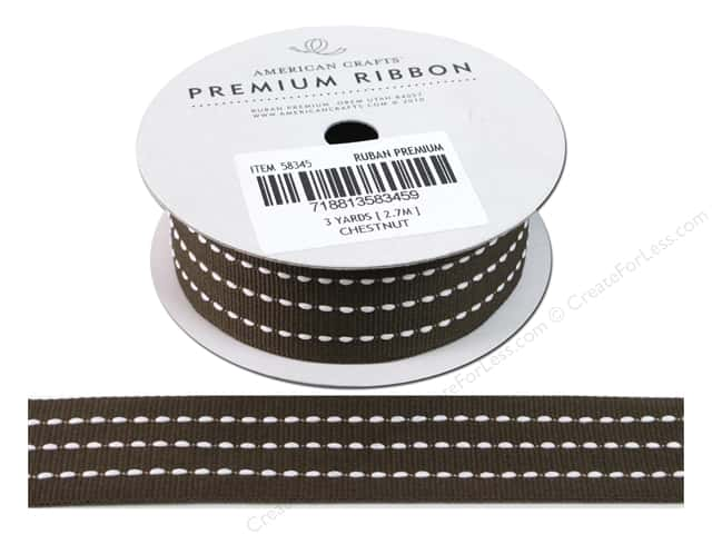 American Crafts Grosgrain Ribbon with Stitch 1 in. x 3 yd. Chestnut