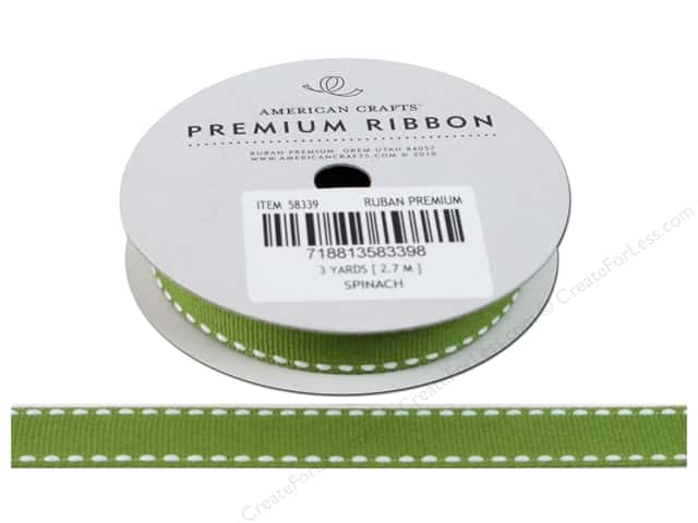American Crafts Grosgrain Ribbon with Saddle Stitch 1/2 in. x 3 yd. Spinach