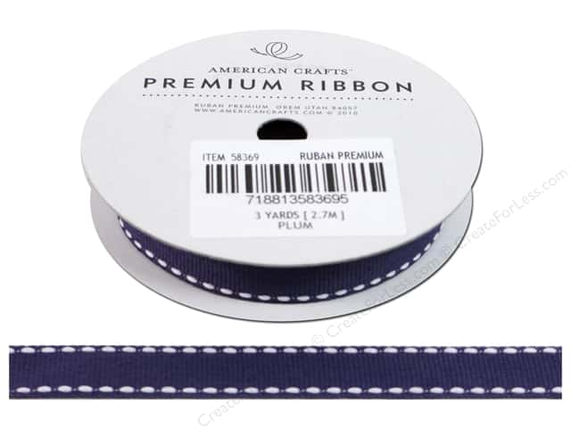 American Crafts Grosgrain Ribbon with Saddle Stitch 1/2 in. x 3 yd. Plum