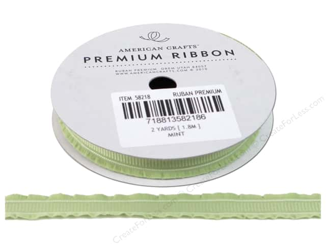 American Crafts Grosgrain Ribbon with Ruffle Edge 3/8 in. x 2 yd. Mint