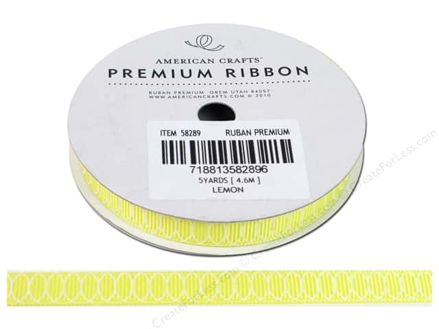 American Crafts Grosgrain Ribbon with Circles 3/8 in. x 5 yd. Lemon