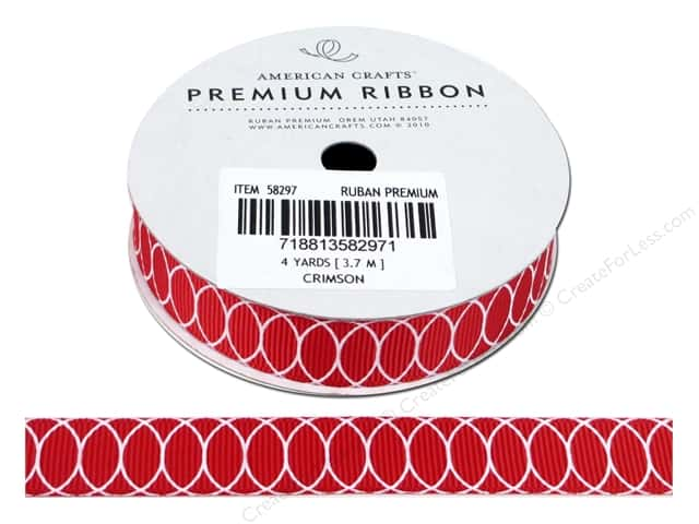 American Crafts Grosgrain Ribbon with Circles 5/8 in. x 4 yd. Crimson
