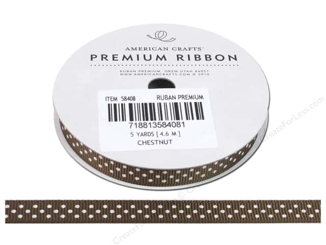 American Crafts Grosgrain Ribbon with Dots 3/8 in. x 5 yd. Chestnut