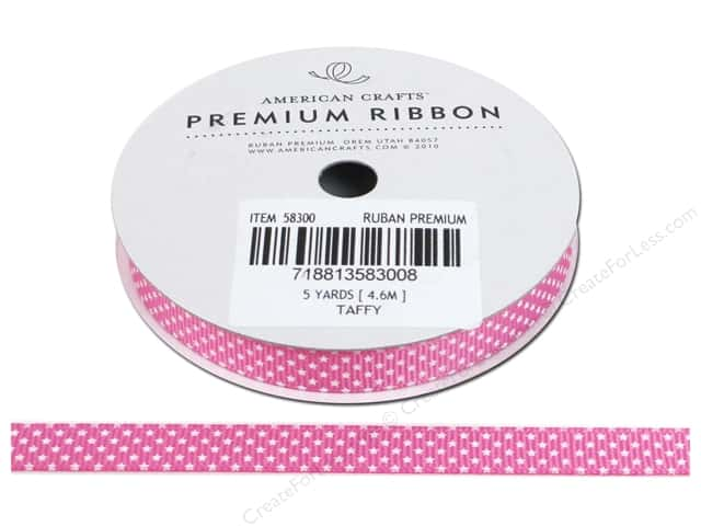 American Crafts Grosgrain Ribbon with Stars 3/8 in. x 5 yd. Taffy