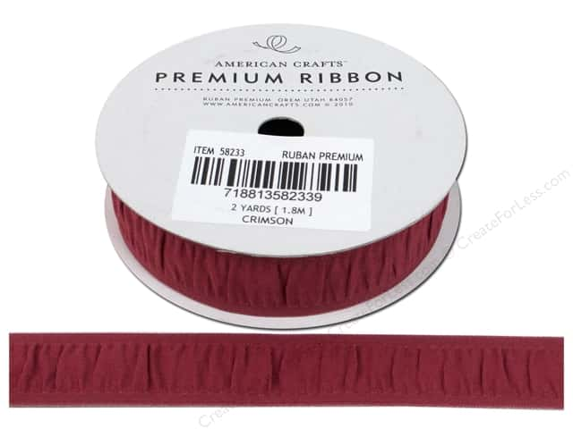 American Crafts Grosgrain Ribbon Gathered 3/4 in. x 2 yd. Crimson