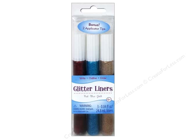 Sulyn Glitter Glue Liners Red Blue Gold 3pc