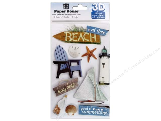 Paper House Sticker 3D Beach