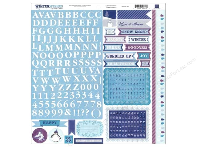 Echo Park Sticker 12 x 12 in. Winter Wishes Collection Alphabet (15 sets)