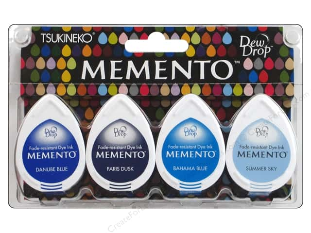 Tsukineko Memento Dye Ink Dew Drop Stamp Pad Set of 4 Ocean