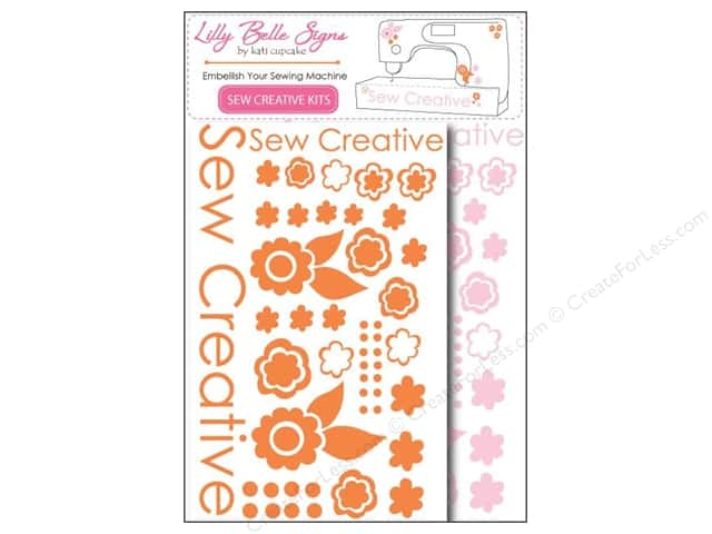 Kati Cupcake Lilly Belle Signs Decal Sewing Pack Pink & Orange