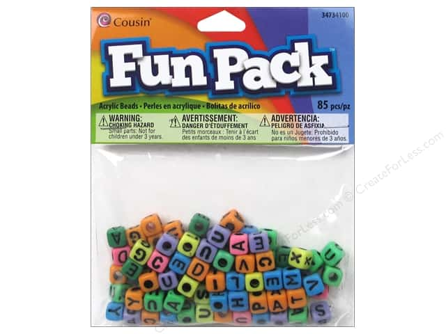 Cousin Bead Fun Pack Alphabet Square Rainbow Mix 85pc