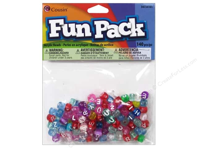 Cousin Bead Fun Pack Alphabet Round Transparent Mix 140pc
