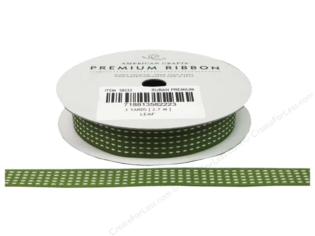 American Crafts Grosgrain Ribbon with Stitch 1/2 in. x 3 yd. Leaf