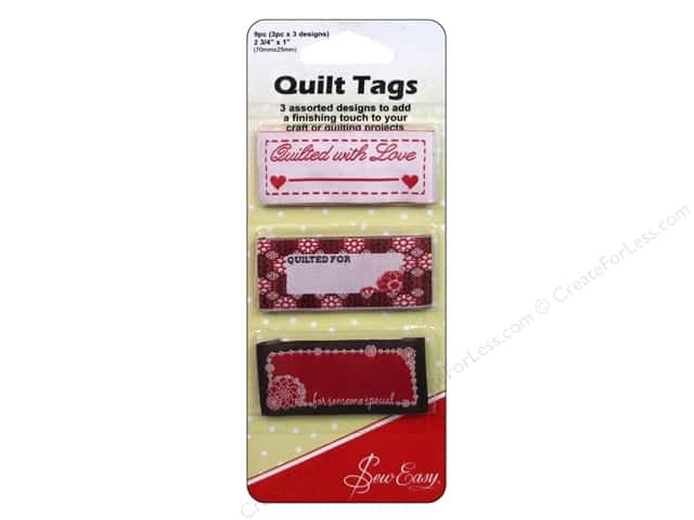 Sew Easy Quilt Tags Quilted 3 Assorted Styles 9pc